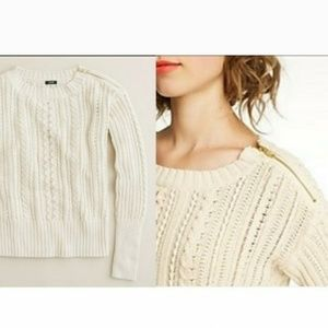 J.Crew Cable knit sweater w/shoulder zip